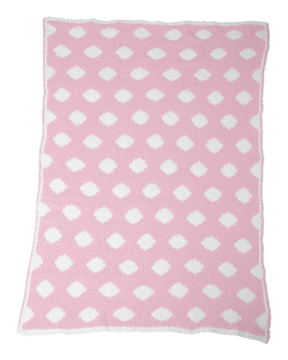 Chunky Chenille Polka Dot Baby Blanket - Kiss Pink